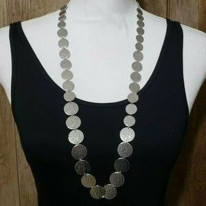 Ann Taylor Long Silver Hammered Necklace
